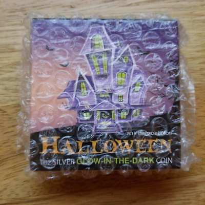 Niue 2$ 2016 Silver 999 Proof 1oz HALLOWEEN Glow-in-the-dark coin HAUNTED HOUSE