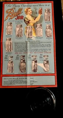 Vintage Ball Canning Ad Aqua Blue Glass Canning  for Mason Jar replacement Piece