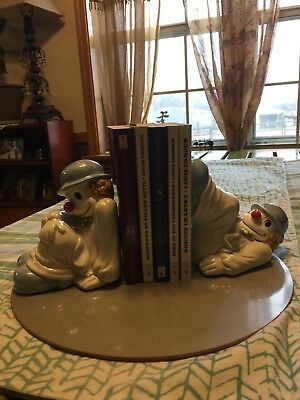 Vintage Fitz And Floyd Clown Bookends 1979. Collectible! Really Cute!