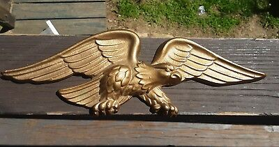"******Vintage Solid Cast metal Eagle Wall Plaque ~ 11"" Wide x 3.5""*****"