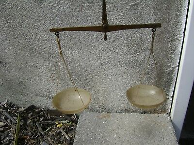 Antique Brass Hand Held Apothecary Gold  Jewelry  Balance Scale