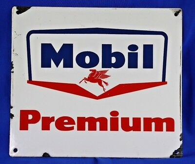 Vintage Mobil Premium Advertising One Sided Porcelain Oil Gas Pegasus Sign