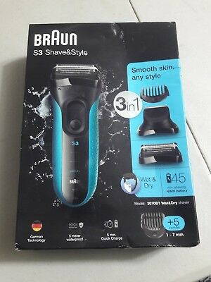 Braun S3 Shave & Style Wet & Dry 3-In-1 Electric Shaver - 3010Bt - New