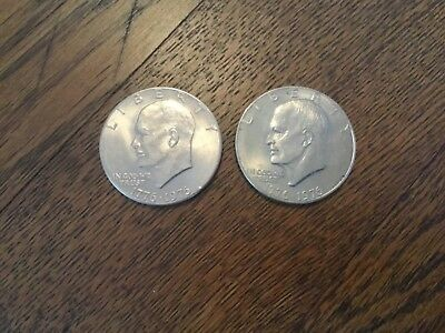 (2) 1776-1976 Bicentennial Eisenhower One Dollar coin in circulated condition