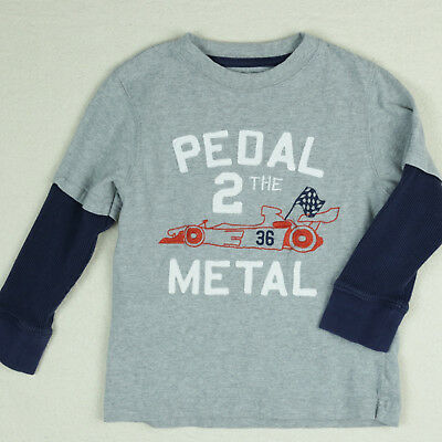 Boys Gymboree 4 Blue Gray T Shirt Layered Top Racecar Print Long Sleeve Red Flag