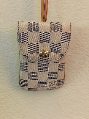 LOUIS VUITTON Damier Azur Phone Coin Wallet Pouch With LV. Thin Belt USA