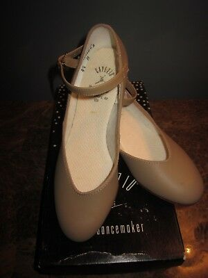 "Capezio Character Shoe Tan #450 Size 4.5M 1""Heel New with Box"