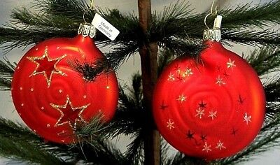 Set of 2 Flat Red Swirl Ball w/Gold Stars~Blown Glass Christmas Ornament~Germany