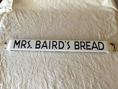 Vintage Mrs. Bairds Bread Porcelain Grocery Store Advertising Door Push Bar