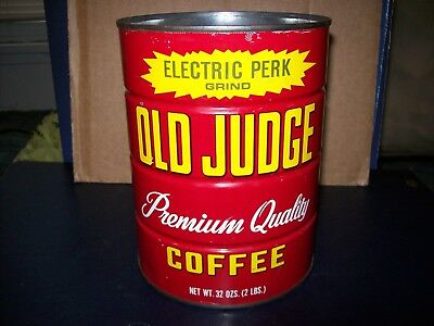 Vintage Old Judge Electric Perk 2 Lb Metal Coffee Can No Lid Good Condition