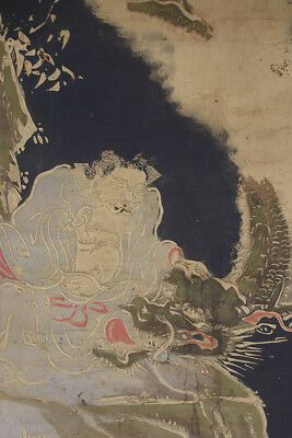 """JAPANESE HANGING SCROLL ART """"Hermit and Dragon"""" Asian antique  #E2936"""