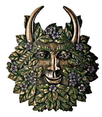 """Celtic Horned Greenman Plaque-Spring - Collectible Green Man 7"""" x 6"""" Resin"""