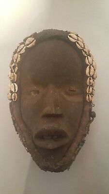 Authentic-Old Hand Carved Dan Deangle Mask Cowrie Shells - African Art Mask