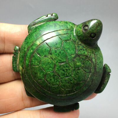 78g Chinese Exquisite Hand carved purple tortoi carving Ancient jade pendant 50