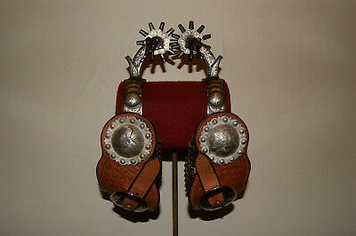 Early E Garcia California spurs leather straps and sterling conchos