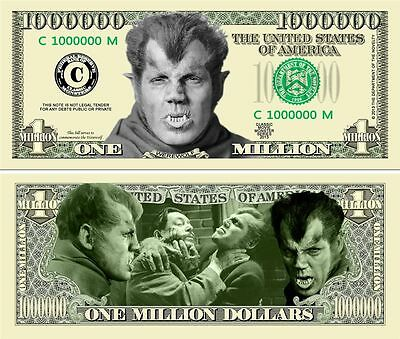 WereWolf Classic-Style Million Dollar Bill Collectible Funny Money Novelty Note
