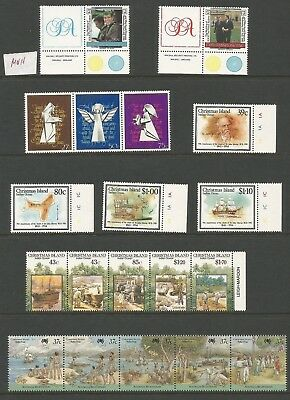 A2/53  SELECTION of CHRISTMAS ISLAND  STAMPS  SINGLES & JOINED STRIP MUH