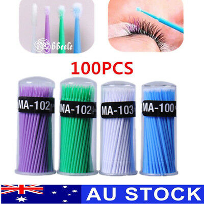 100/400PCS Eyelash Extensions Micro Brush Disposable Swab Applicator Makeup Tool