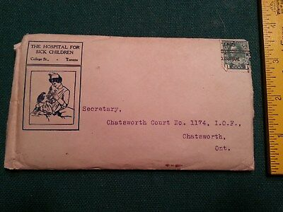 1918 Hospital for Sick Children Toronto Ontario Envelope IOF Chatsworth Postmark