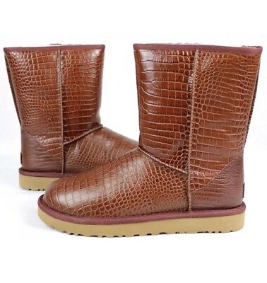 c8fc90c2213 Ugg Classic Short Croco Glossy Leather Women's Boot, Spice Color, Size 7  Us- New