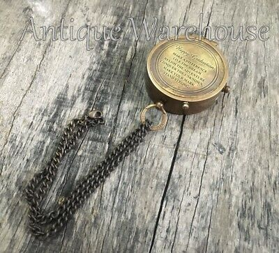 Vintage Marine Beautiful Antique Brass Navigation Pocket Compass With Chain