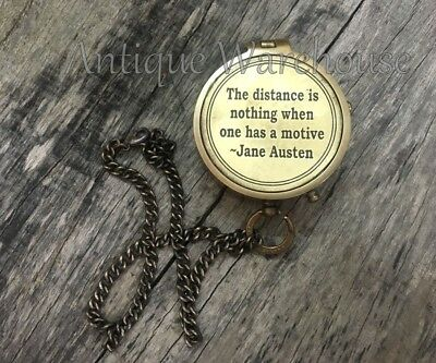 The Distance is..... Nautical Antique Brass Navigation Pocket Compass With Chain
