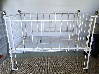 Vintage Old Antique Metal Iron Cot Bed Brass Nursery Baby