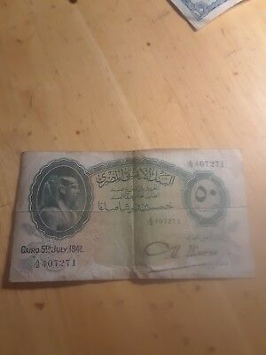 1941 Egypt 50 Piastres National Bank of Egypt Banknote Signed Nixon P21