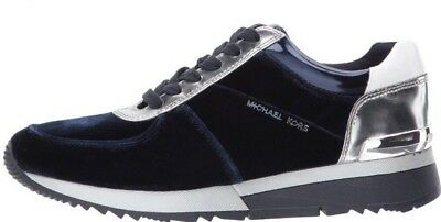 9d44e8fe5afc0 New Michael Kors Allie Trainer Sneakers Admiral silver logo saffiano shoes