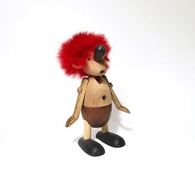 Vintage Hans Bolling Teak Strit Figurine w/ Red Hair, 1950s Danish Modern MCM