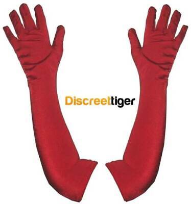 Elegant Red Satin Gloves Elbow Length Elegant Fancy Opera Race Day Formal