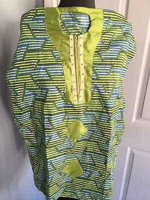 2 Piece Girl Green African Attire Summer Boubou Kaftan Ankara 4 Years With Scarf