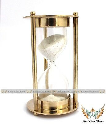 Collectible Solid Full Brass Hourglass With White Sand Antique Decorative Timer