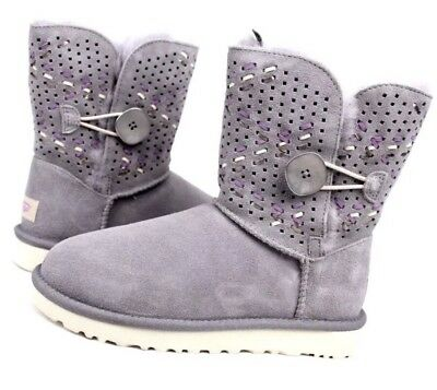 fdfb21a8f13 UGG BAILEY BUTTON Ii Tehuano Pencil Lead Gray Suede Wool Boots Size 5 New  In Box