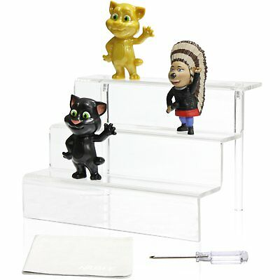 Acrylic Riser Stand Shelf for Amiibo Funko Pop Figure Display, 3 Steps Acrylic