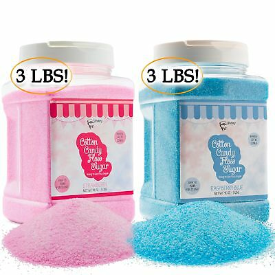The Candery Cotton Candy Floss Sugar (2-Pack) | Raspberry Blue and Strawberry |