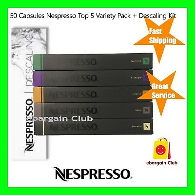 50 Capsules Nespresso Coffee Variety Pack + Descaling Kit Mixed Pods Top 5 eBC