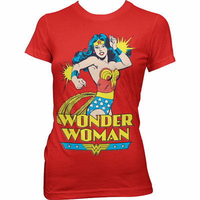 Official Licensed Wonder Woman Ladies Fitted T-Shirt S-XXL Sizes (Red)