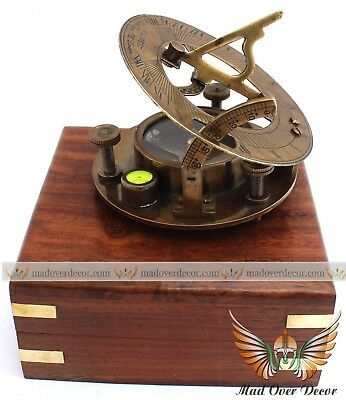 "Nautical Handmade Vintage Antique Finish Brass 3"" Sundial Compass W Wooden Box"