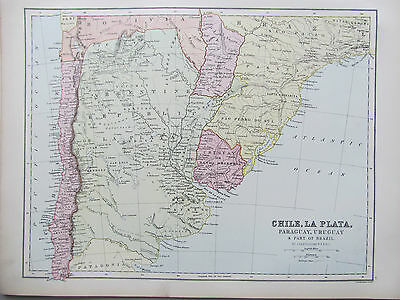 SOUTH AMERICA - CHILE - ANTIQUE MAP - PUBLISHED c.1895