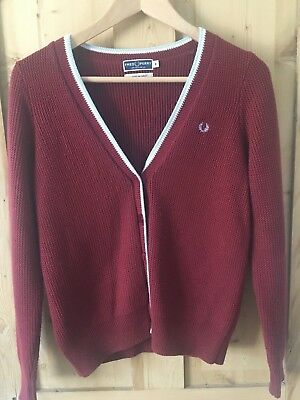 Fred Perry Burgundy / Red Twin Tipped Cardigan Size 8. Never worn