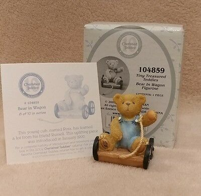 Cherished Teddies Tiny Treasured Teddies #104859 Bear In Wagon Figurine Enesco