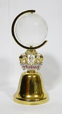 Thailand Aluminum Small Bell with Glass Globe and Thai Elephant