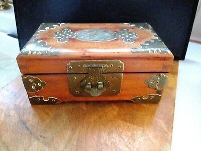 Antique Chinese Jewellery Box with  Jade Inset & Brass Overlays & Red Silk Lined