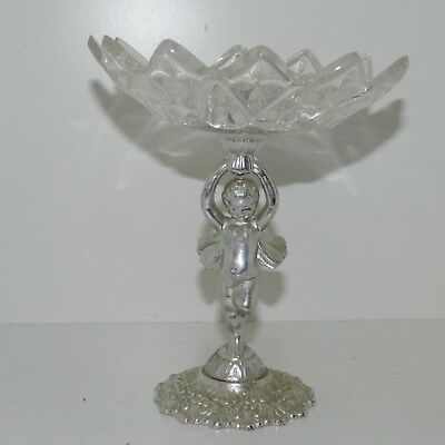 Vtg Cut Glass Bowl Silver Cherub Angel Compote Wings Candy Dish Nice 6 1/2""