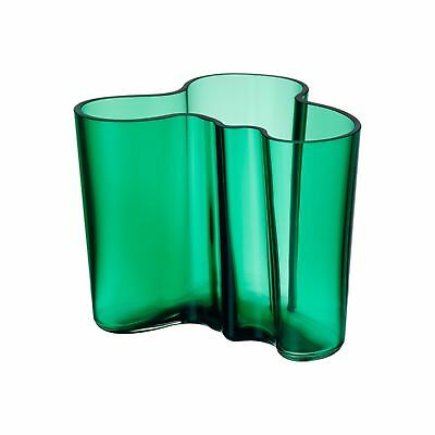 IITTALA ALVAR AALTO EMERALD VASE 120 MM FINLAND MOUTH BLOWN GLASS NEW In Box
