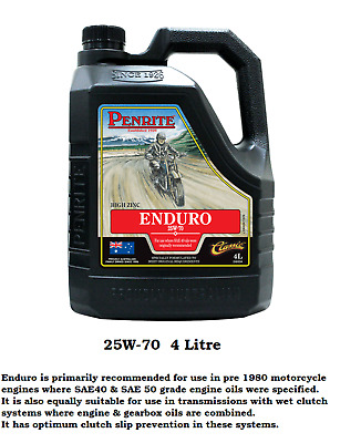 PENRITE 25W/70 Mineral MOTORCYCLE Engine Oil for Older Motorcycles SAE50 SAE40