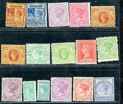 Australia Victoria 16 Values To 8 Pence Unsorted For Wmks Perfd Etc Mh 1 Mng