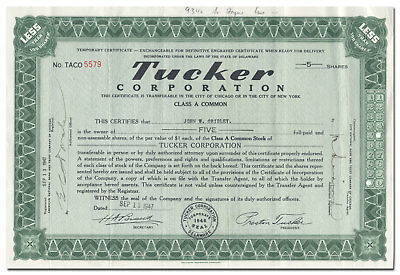 Tucker Corporation Stock Certificate (Preston Tucker's Car of Tomorrow)