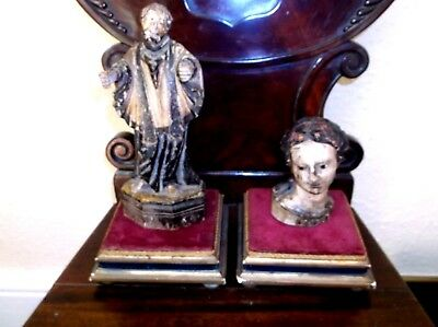 Rare Antique 19Th C Pair Of Square Display Stands Gilded Gesso Wood & Red Velvet